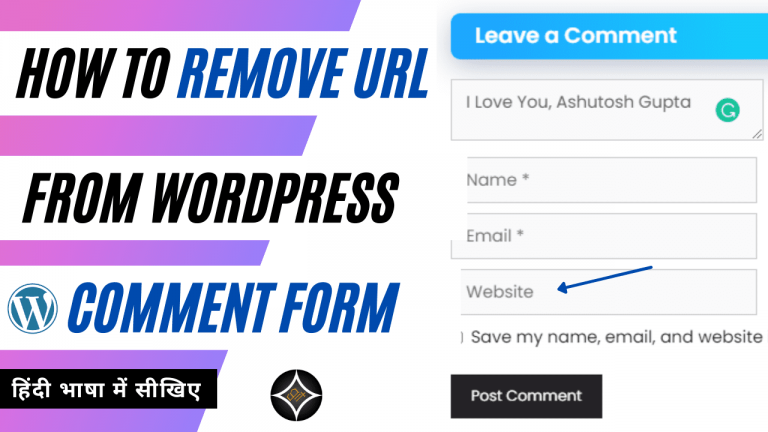 How to remove URL from WordPress comment form